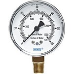 "WIKA 611.10 - 2.5"" Dial - 0-100 InWC/mmWC Pressure Gauge  - Overpressure Safe"